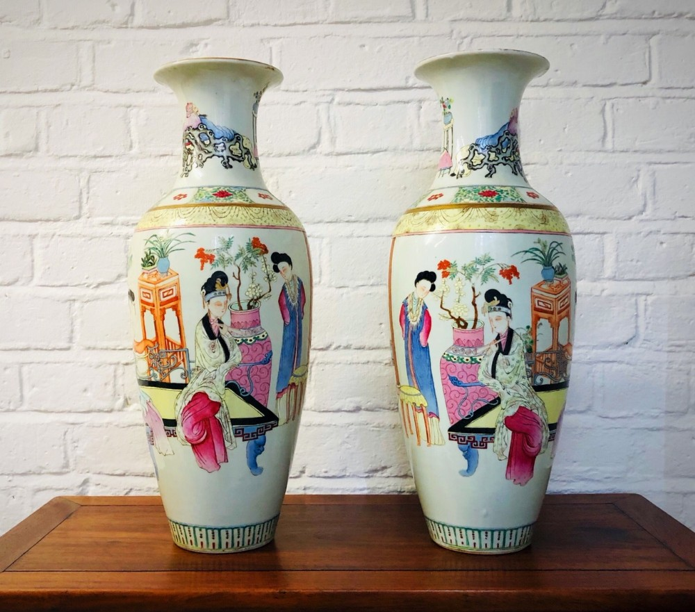 a pair of chinese 19th century famille rose vases