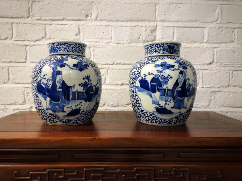 a pair of antique chinese blue and white ginger jars