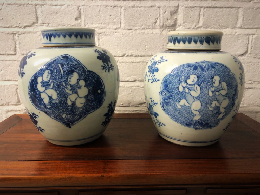 a pair of 18th century antique chinese ginger jars