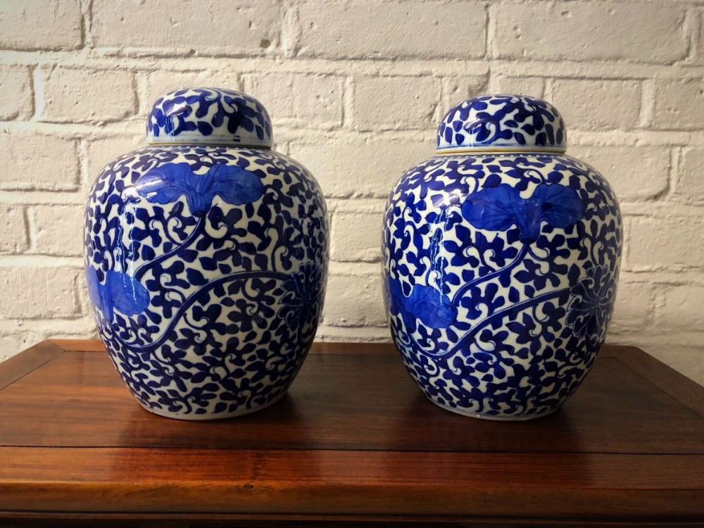 a pair of 19th century chinese blue and white ginger jars