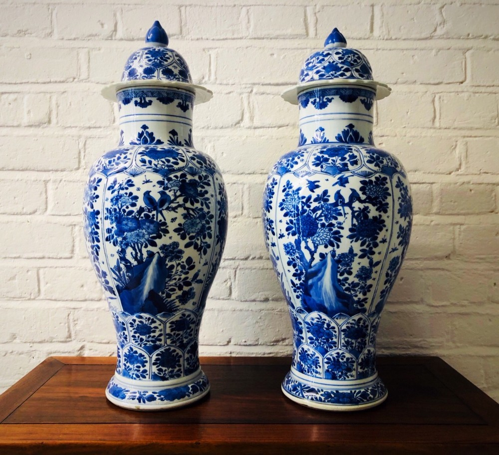 a wonderful pair of antique kangxi period blue and white vases