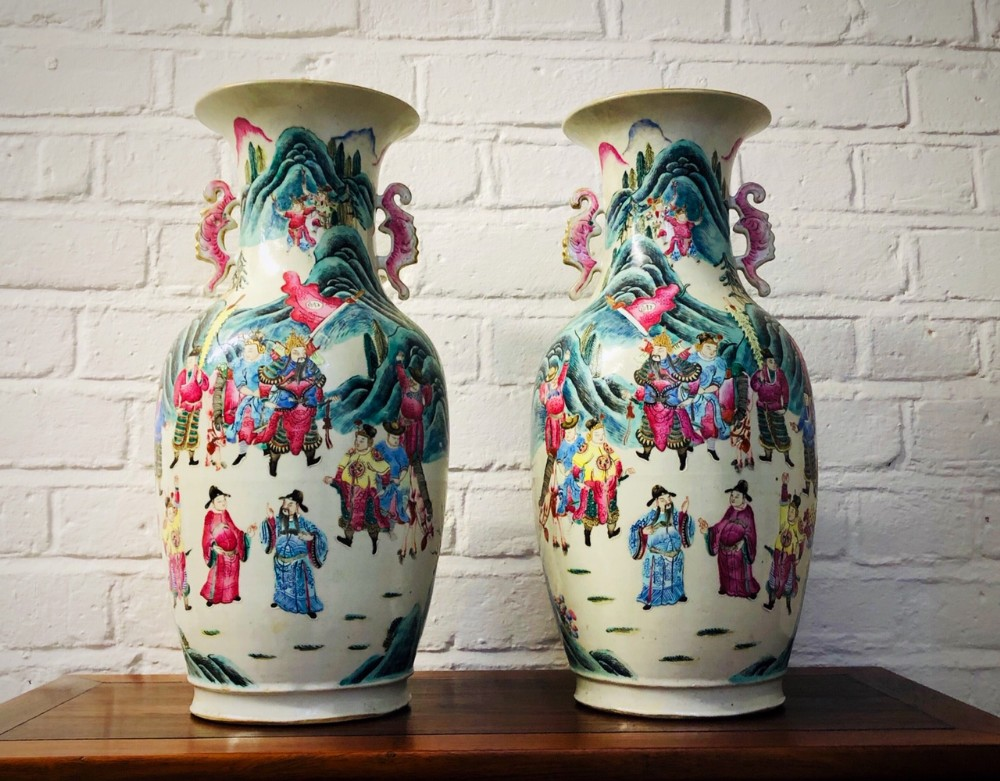 a large pair of famille rose antique chinese vases