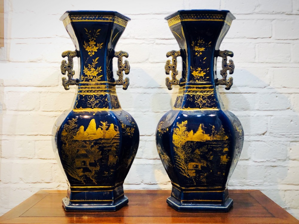 a pair of antique chinese powder blue vases circa 1780 1800