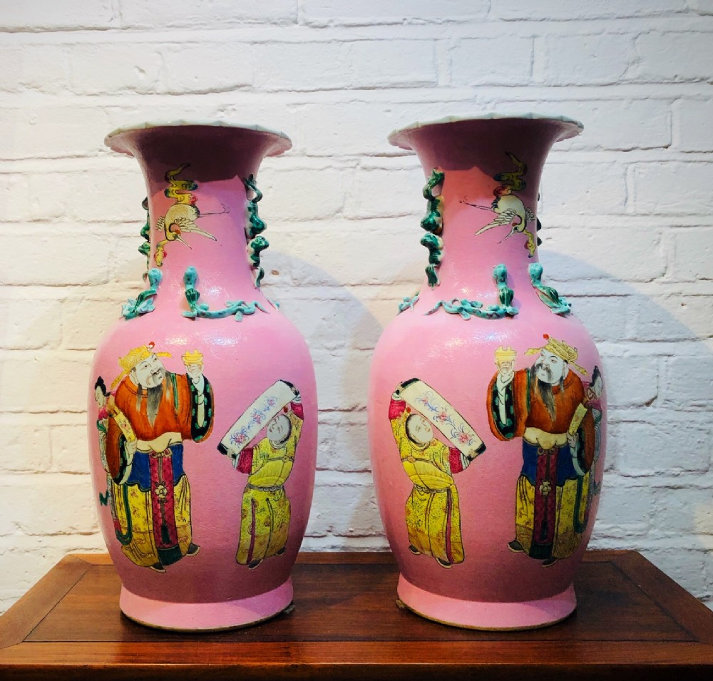 a large pair of ground pink antique chinese vases c1880