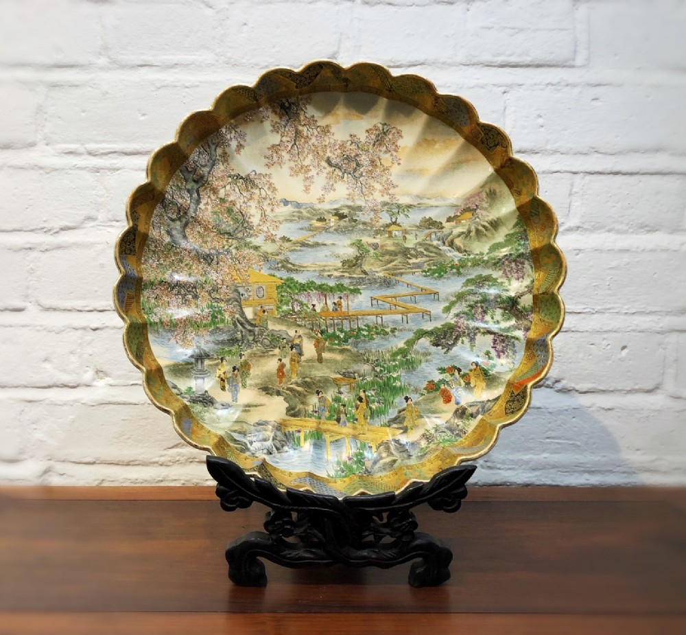 a beautifully painted antique japanese satsuma dish dating from the late 19th century