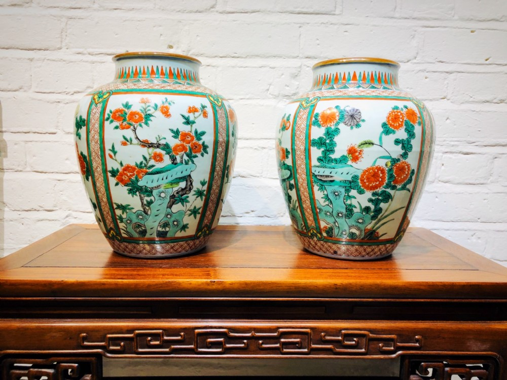 a pair of antique chinese famille verte jars c1880