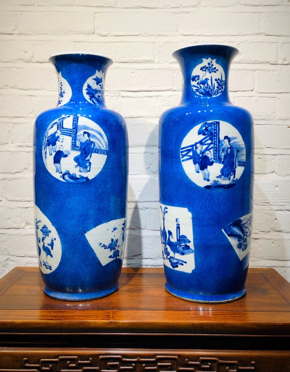 a pair of large kang hsi antique chinese vases