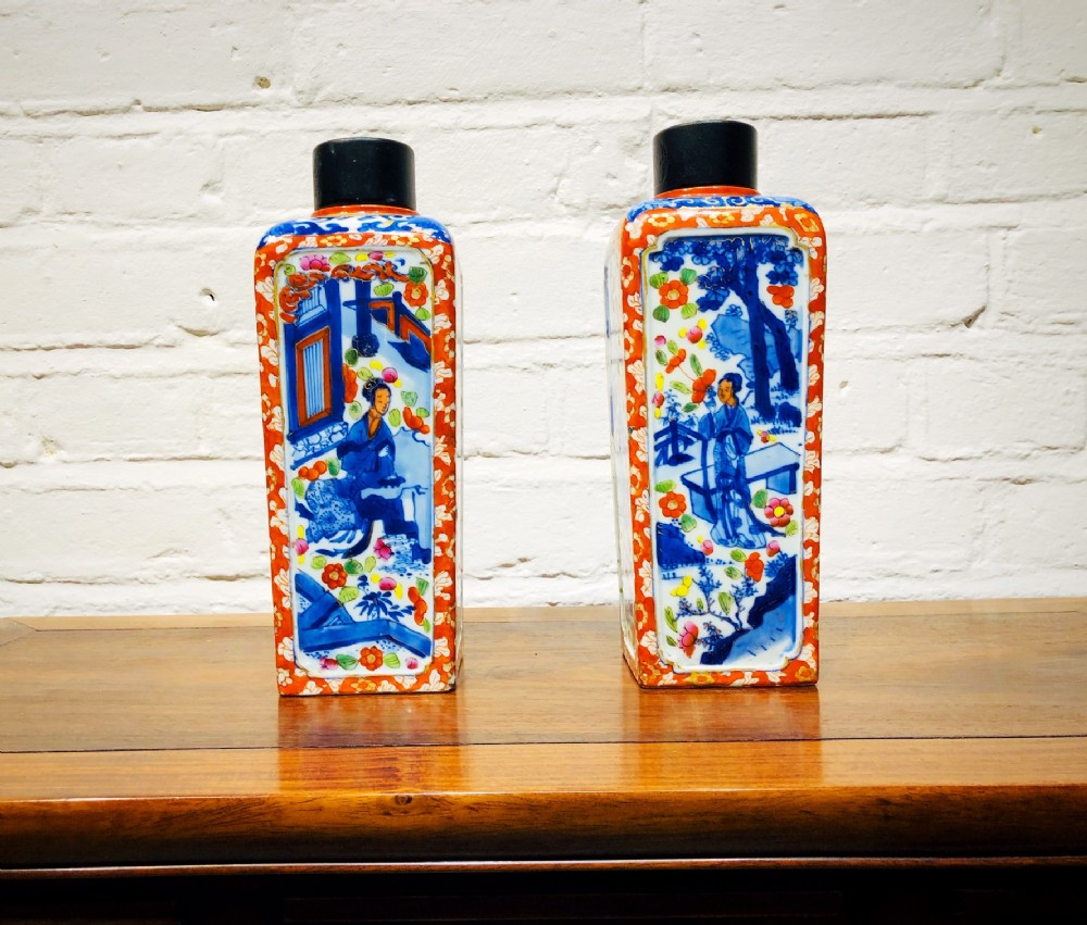 a charming pair of kang hsi chinese clobbered cannisters with lids