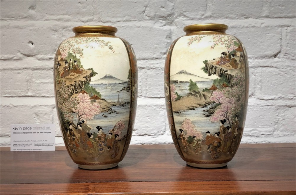 a pair of kizan satsuma antique japanese vases c1880