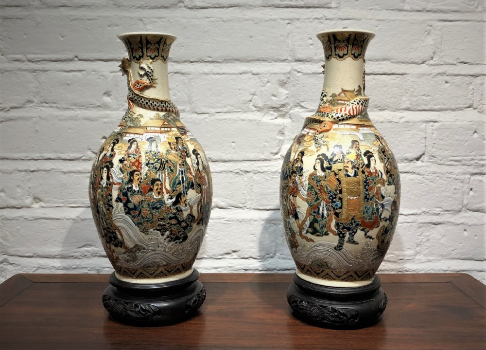a pair of satsuma vases from the japanese meiji period c1880