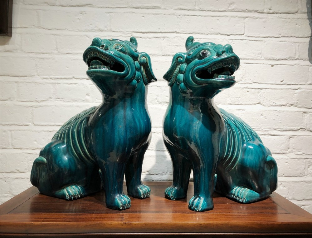 a pair of antique chinese turquoise kylins