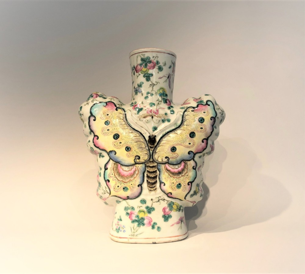 a delightful antique chinese butterfly vase 19th century