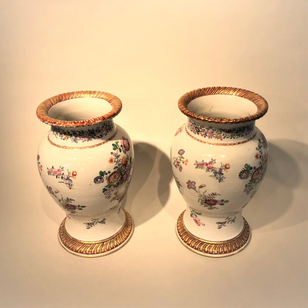 a charming pair of antique chinese chien lung vases 1780