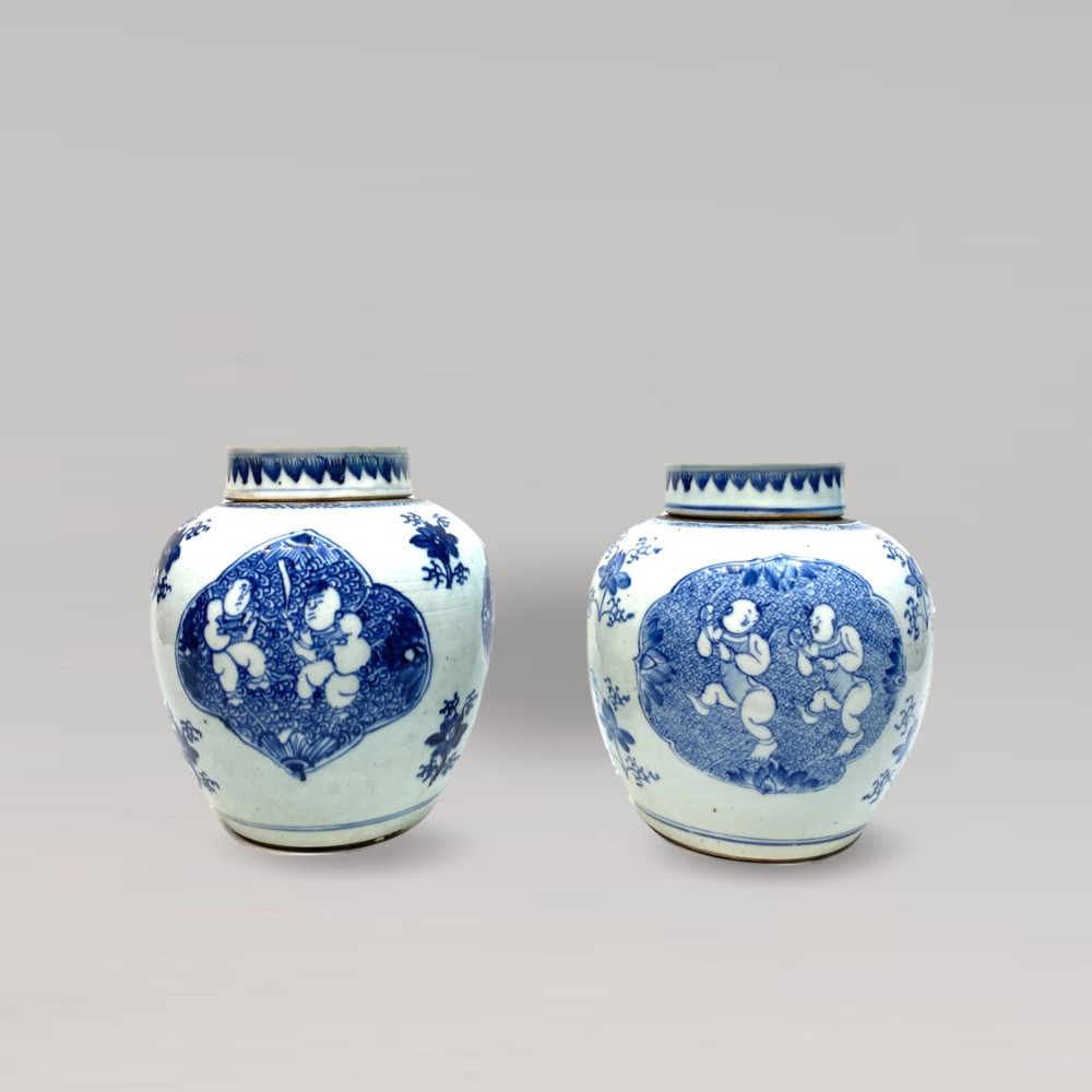 an intriguing pair of 18th century antique chinese ginger jars and covers