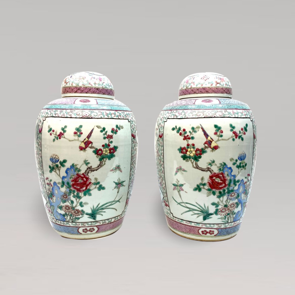 a pair of 19th century chinese ginger jars