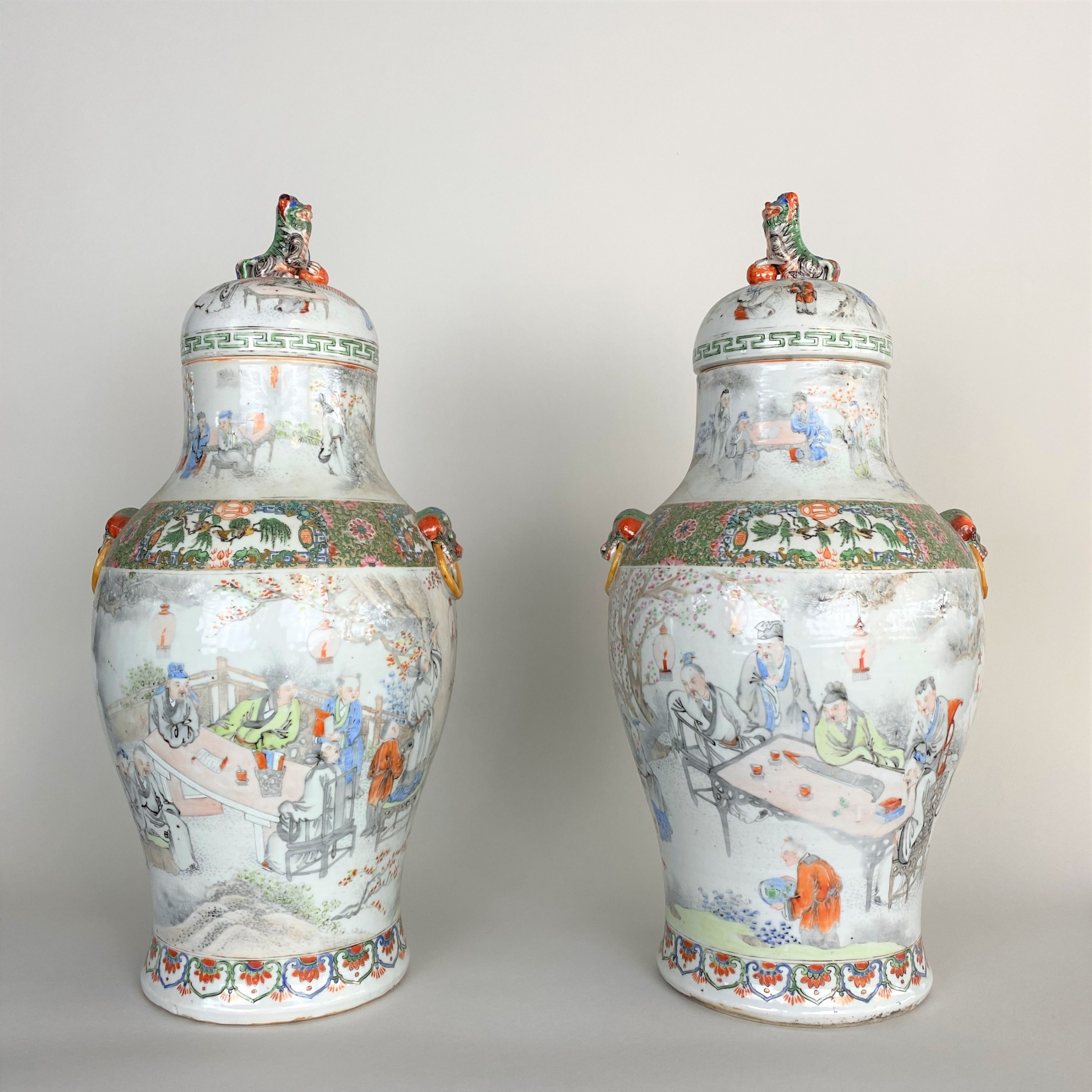 a large and unusual pair of antique canton chinese jars and covers