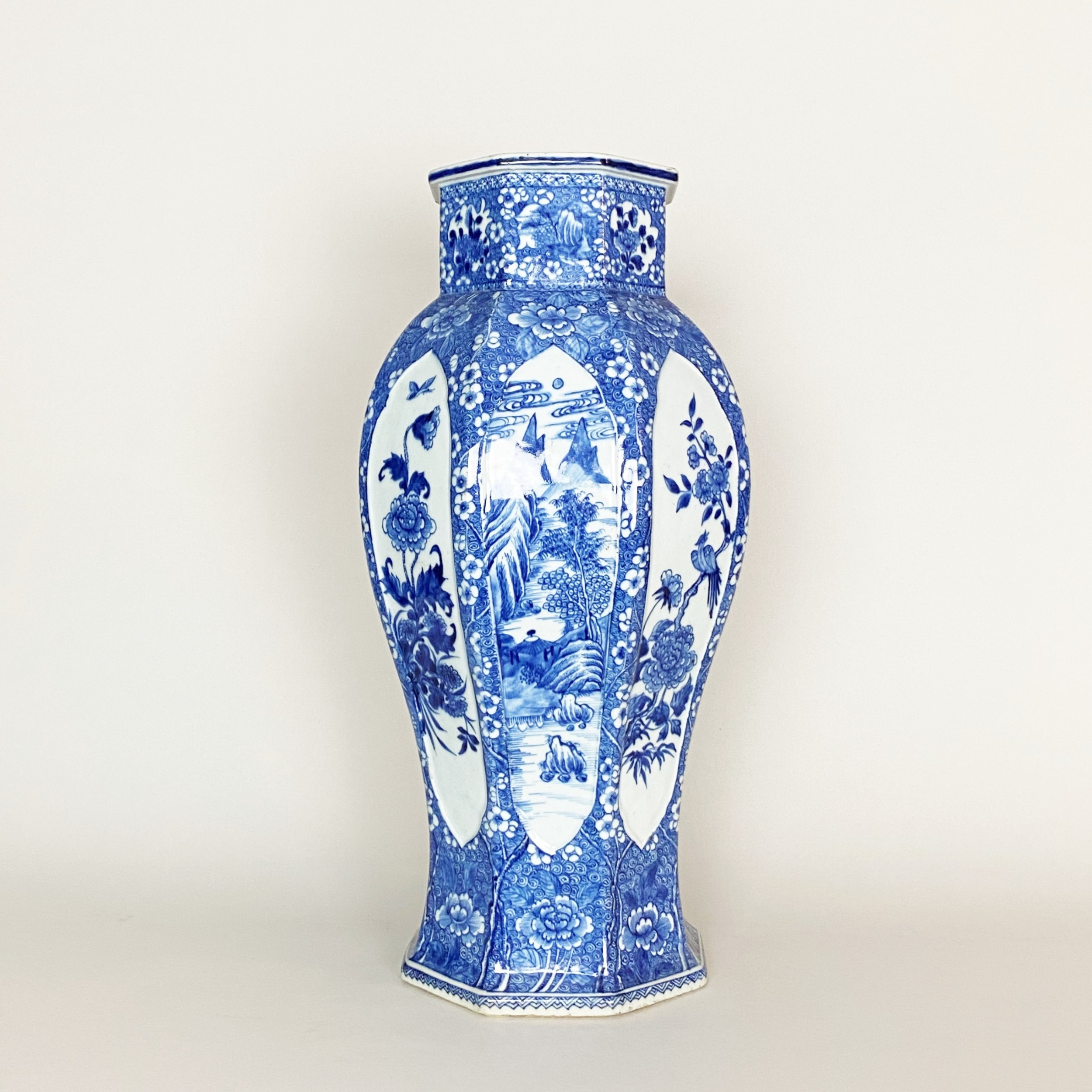 an large 18th century blue and white vase chien lung