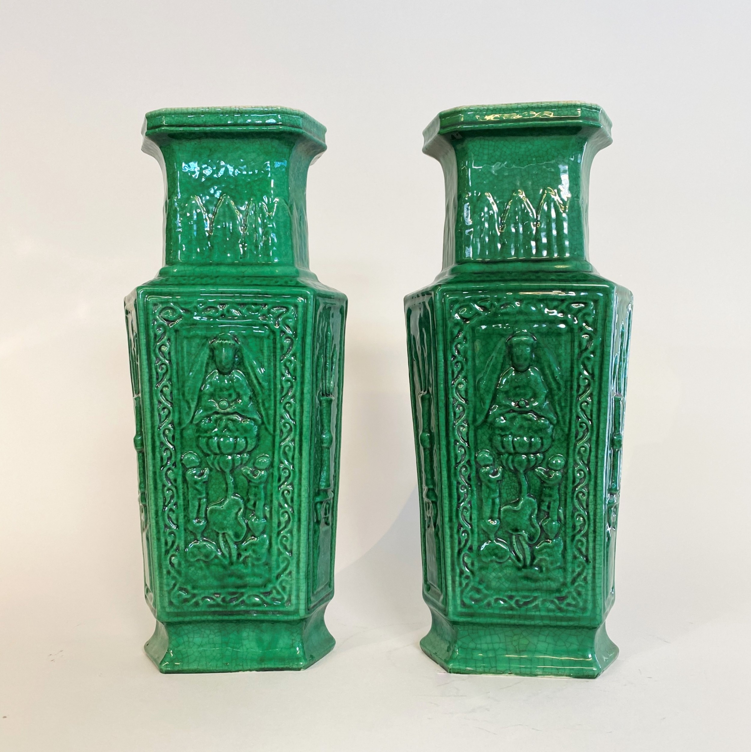 a pair of vibrant green late nineteenth century chinese vases