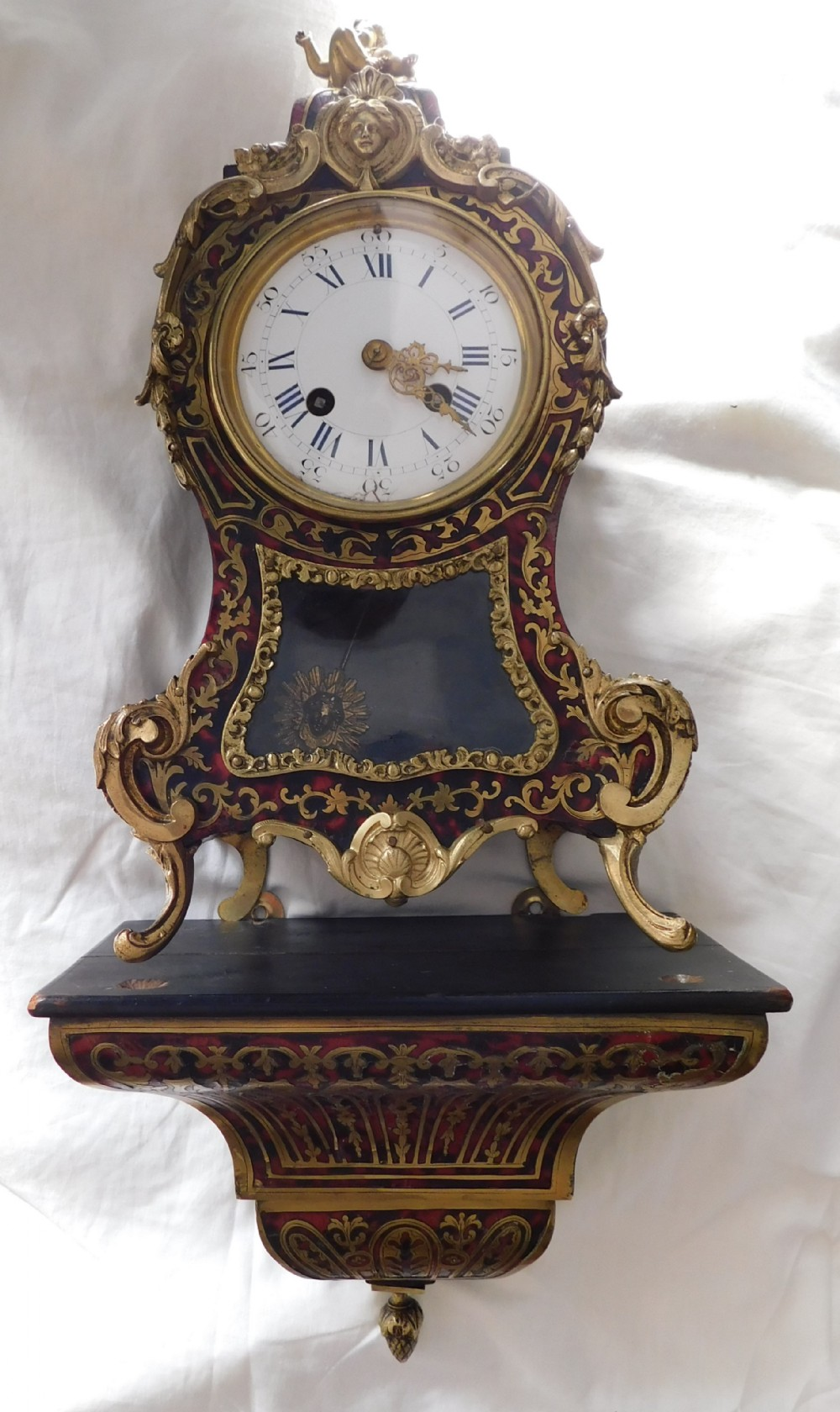 late victorian french striking boulle clock with wall bracket