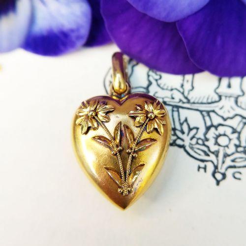 antique victorian 15ct yellow gold aesthetic movement heart pendant