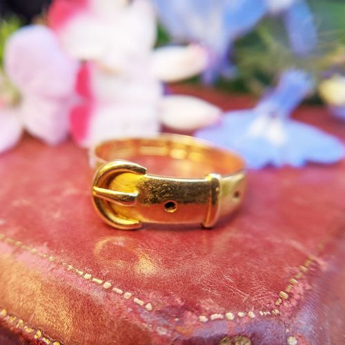 antique victorian 18ct yellow gold ladies buckle ring belt band