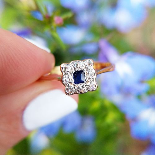 dainty art deco 18ct gold sapphire diamond cluster ring