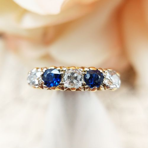 antique 18ct yellow gold diamond sapphire five stone ring