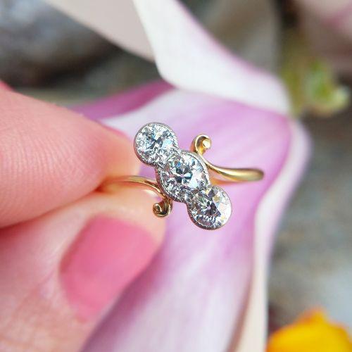 antique edwardian old cut diamond trilogy ring