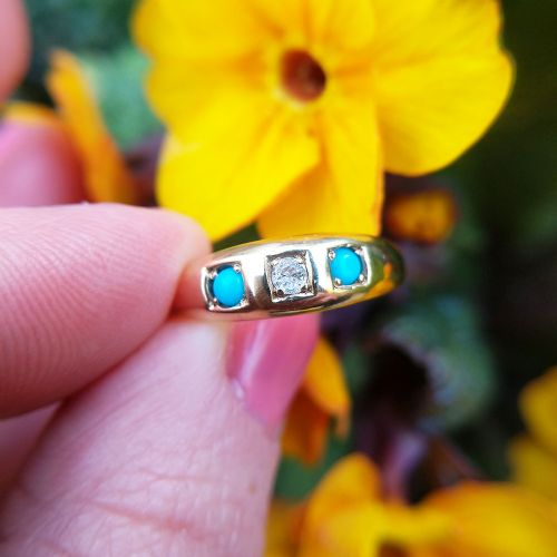 antique 18ct yellow gold turquoise diamond trilogy gypsy ring