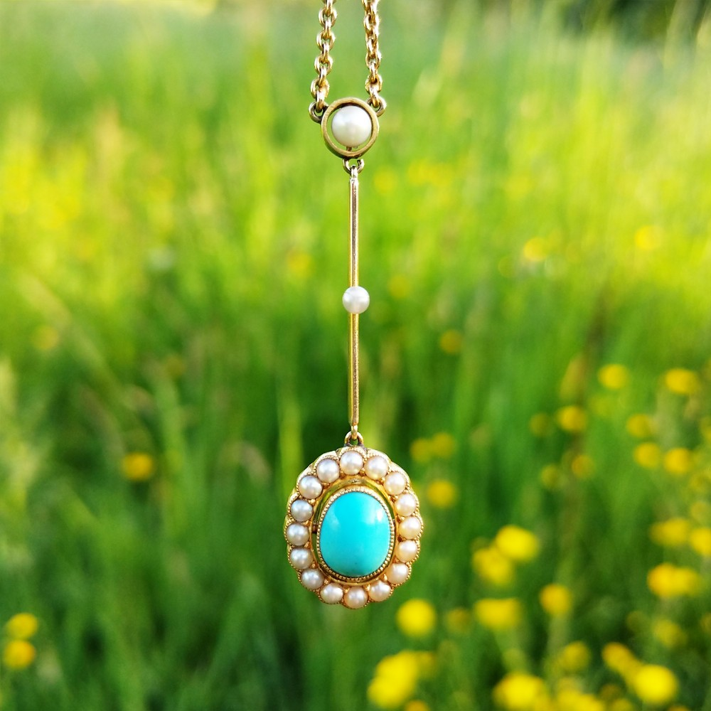 antique edwardian 15ct gold turquoise pearl edna may necklace