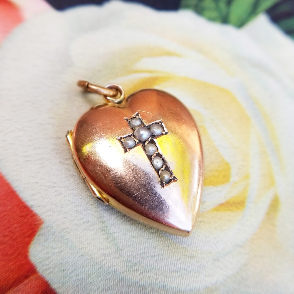 antique 9ct rose gold heart locket with pearl cross motif victorian mourning locket