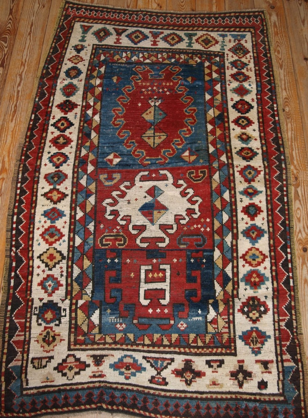 Antique Caucasian Bordjalou Kazak Rug Of Abstract Design