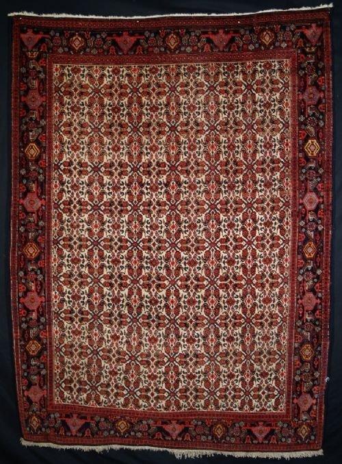 antique senneh rug ivory ground classic design c1900