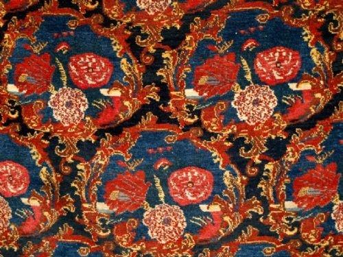 Antique Persian Senneh Rug Gol Farang Design C1900