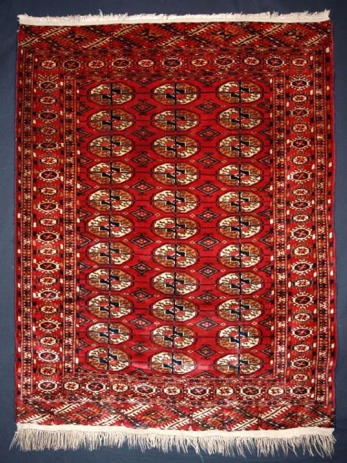 antique rug by the tekke turkmen full pile circa 1900