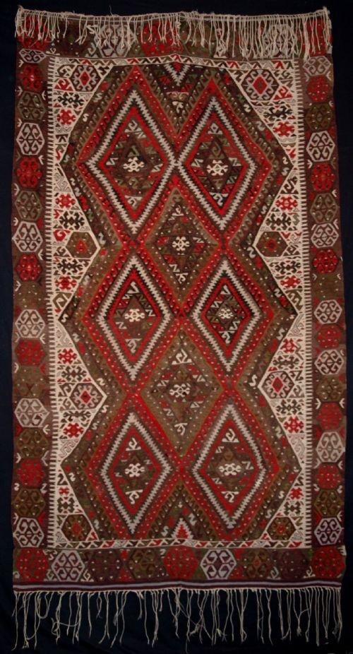 old turkish fethiye kilim classic design colour circa 1940