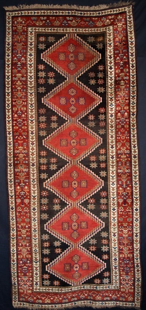antique kurdish long rug great border circa 1900
