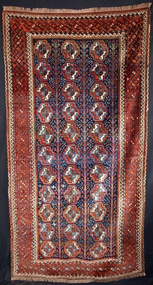 antique kurdish kordi rug with turkmen guls circa 1900
