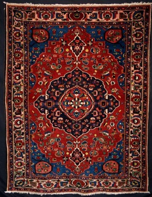 antique persian bakhtiari village rug superb c191020
