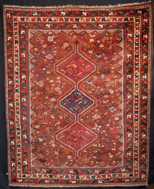 Persian Tribal Rugs: Antique Persian Tribal Rug, Shiraz Region, Circa 1910