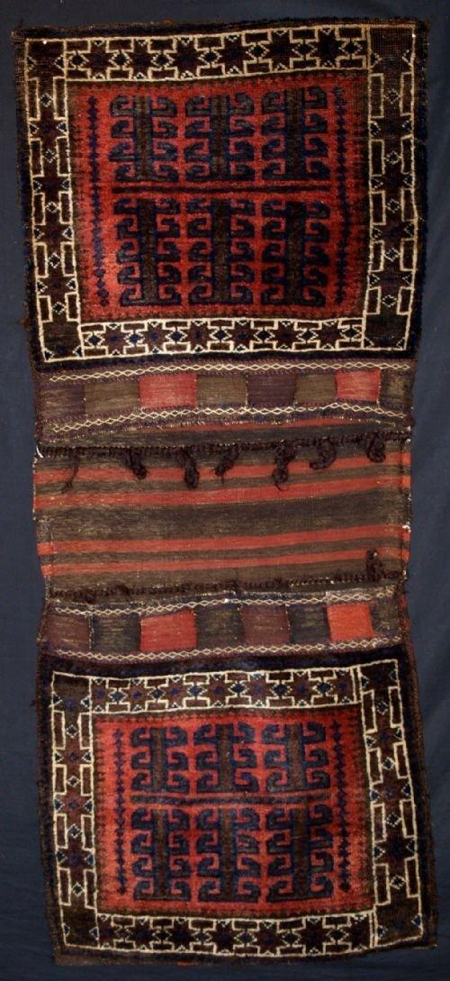 antique baluch complete khorjin rare design circa 1900
