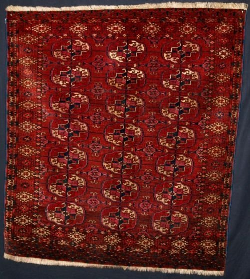 old tekke turkmen rug small square size circa 1920