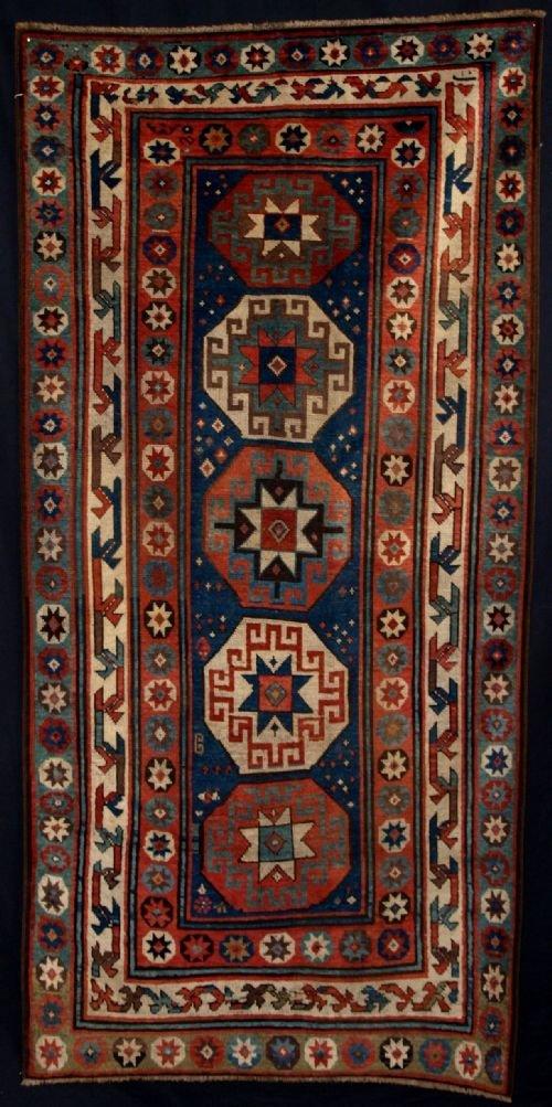 antique kazak rug with memlinc guls superb 2nd 12 19th century
