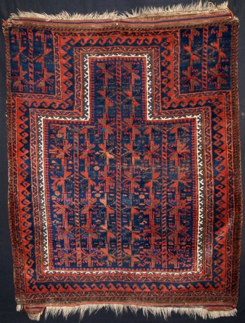 antique blue ground timuri baluch prayer rug superb colour mid 19th century