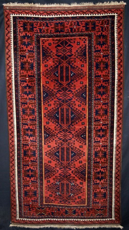 antique baluch rug unusual design great colour condition late 19th century
