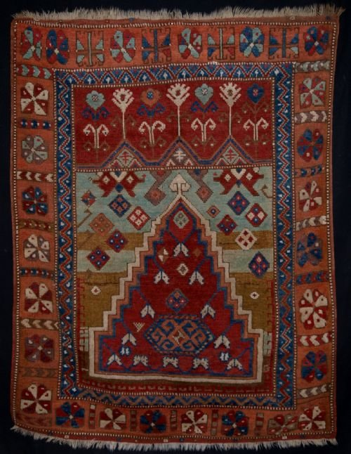 antique central anatolian konya prayer rug superb design colour mid 19th century