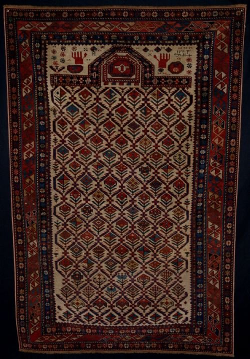 antique caucasian marasali prayer rug inscribed and dated superb 2nd half 19th century