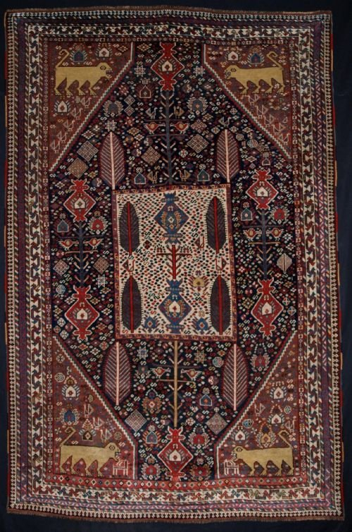 antique south west persian luri or khamseh garden rug lions animals superb tribal 4th q 19c