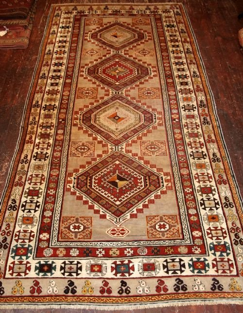 antique caucasian shirvan long rug or runner very pale colours circa 1900