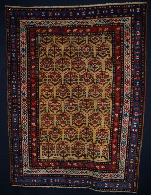 antique kurdish rug with shrub design on a yellow ground beautiful rug circa 1900